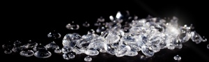 Diamonds on a black background with copy space