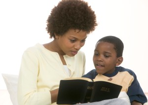 Mother and Son Reading Bible Together