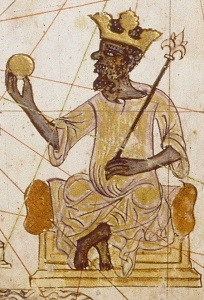 A picture from a medieval atlas, drawn in modern day Spain. It shows the King of Mali, Mansa Musa, who reigned between 1312 and 132, wearing a Gold Crown, Gold Ingot, and Gold Scepter.