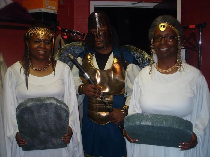 Mordekiyah, Rhonda Reagor Johnson, and Jessie Bright as the Righteous Angel, Wisdom, and Understanding