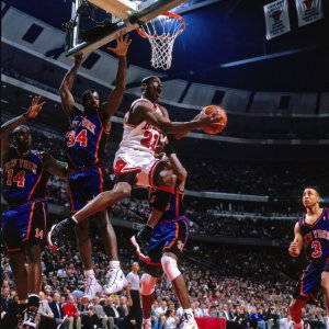 CHICAGO - MAY 14:  Michael Jordan #23 of the Chicago Bulls goes up for a shot against the New York Knicks in Game Five of the Eastern Conference Semifinals during the 1996 NBA Playoffs. Copyright 1996 NBAE (Photo by Nathaniel S. Butler/NBAE via Getty Images)