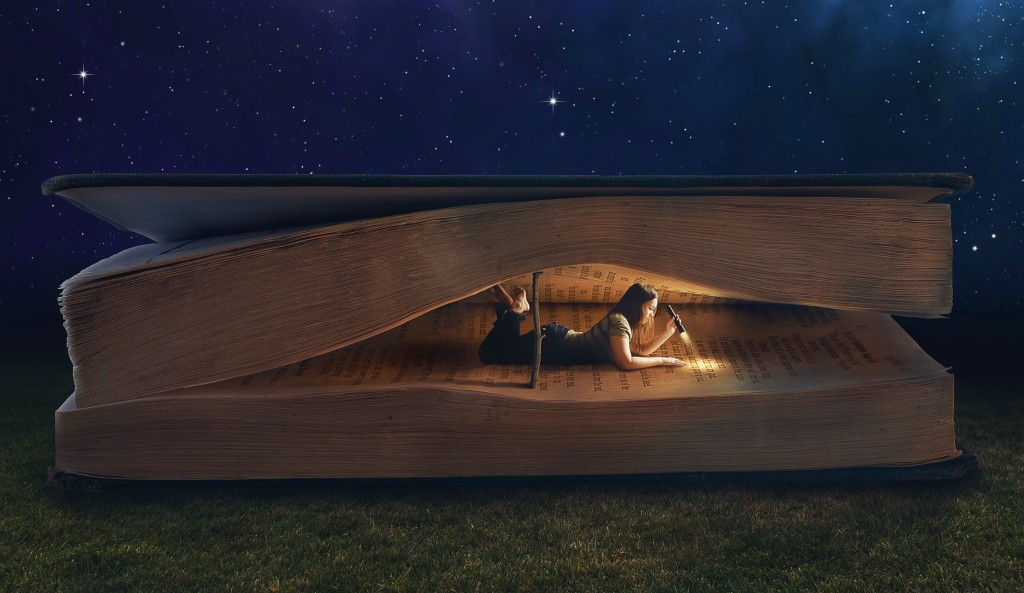 girl-book-light-dark-reading-collage-lying-night-grass-giant