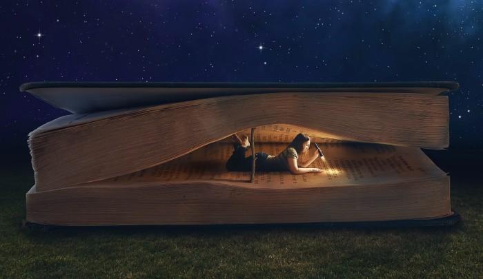 girl-book-light-dark-reading-collage-lying-night-grass-giant