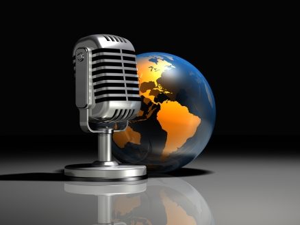 3d illustration of a large silver old style microphone standing in front of a transparent glove on a dark gray reflective surface
